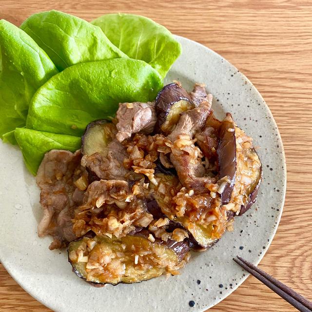 豚肉とナスのらっきょう生姜焼き