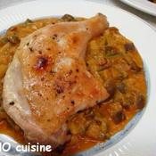 若鶏骨付きもも肉のグリル~夏野菜のスパイシーソース