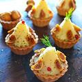 りんご入りクリームポテトの小さなツリータルト  #金魚の肴  #家バル  #クリスマス