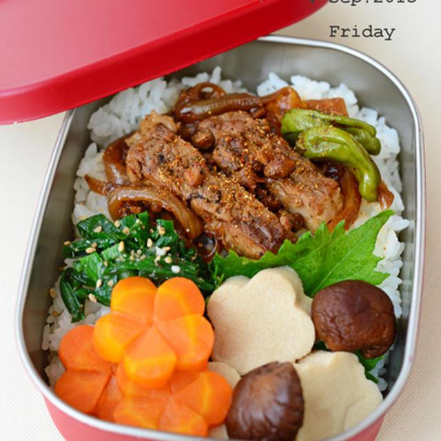 9月4日 金曜日 梅肉ポークのもろみ漬け丼&高野豆腐と野菜の炊き合わせ