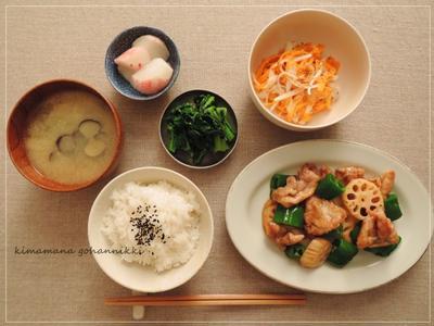 豚肉と万願寺のオイスター炒めと、炊きたてご飯。