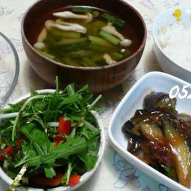 マーボ茄子&水菜海苔さらだ☆長芋千切り・・ご飯♪