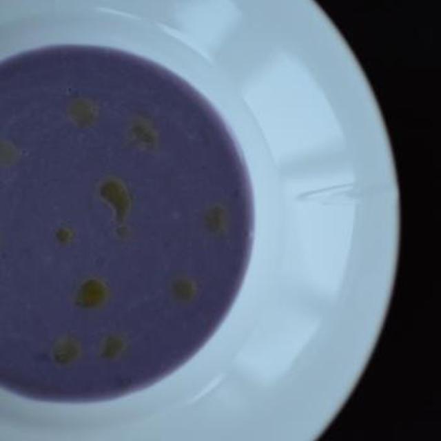 ★recipe★ Potetsuppe med trøffelolje(紫ジャガイモのスープ)