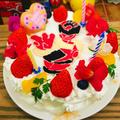 共立てスポンジを使って☆バースデーケーキ