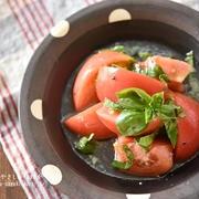 【レシピ・副菜・作り置き】まるでフルーツ!!トマトとバジルのはちみつマリネ