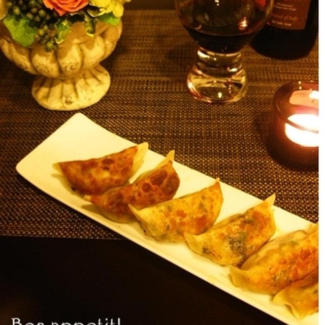 お洒落な韓国海苔で♪夫大絶賛、ベーコンキムチチーズ餃子(レシピ付き)