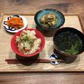 【献立】きのこの炊き込みご飯、里芋と玉ねぎの煮物、人参の胡麻ポン和え、ほうれん草と青海苔のお味噌汁