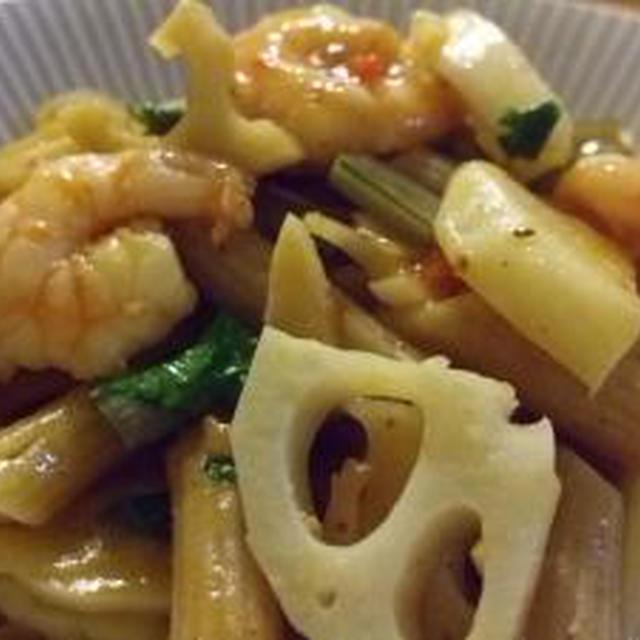 サラダクラブ トマトドレッシングで根菜とエビのペンネ(レシピブログ)