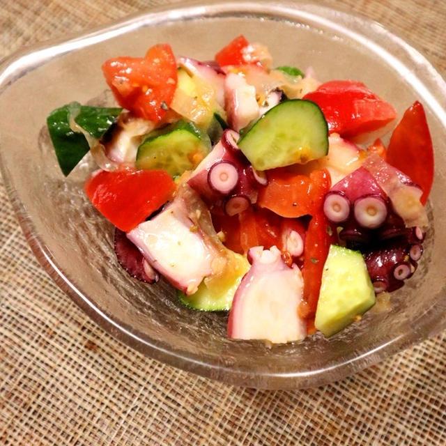 5分で簡単☆タコと彩り野菜のイタリアンサラダ【#スパイス大使 #作り置き #ビールがすすむ】