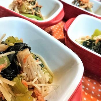 【レシピ】簡単★ちょこっとおかず★カルシウム強化★ごまポン酢3【小松菜と干しエビのごまポン酢】