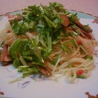 みず菜と茸のペペロンチーノ