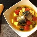 切って煮るだけ。コンソメ本ダシの鯖缶トマトカレースープ(糖質5.7g) by ねこやましゅんさん