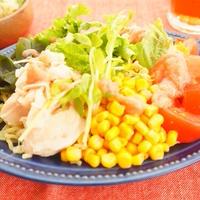 【缶詰レシピ】ささみ缶×コーン缶×たらこソースでごちそうラーメンサラダ