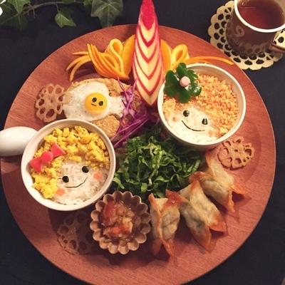 高野豆腐でそぼろ丼*キラキラ炒り卵と鮭と明太子のそぼろ