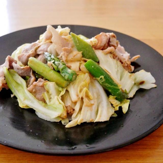 「福島のスナップえんどうとアスパラガス」で春野菜と豚肉のごま味噌炒め
