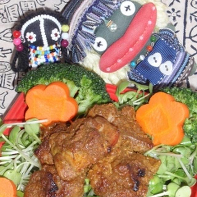 鶏肉の塩麹野菜カレー焼き&蓮根のきんぴら風塩麹炒め(お家カフェ)