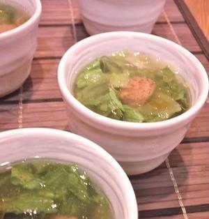 モーニングバードさんで紹介させていただいた「焼き鳥缶とレタスの即席スープ」です