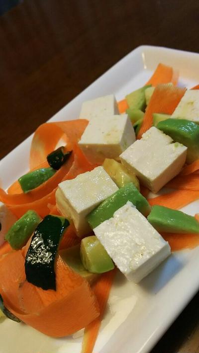きのうのおつまみ  豆腐とアボカドサラダ かき醤油ドレッシング