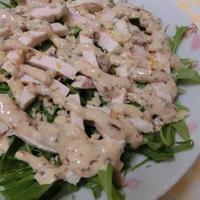 プルーンヨーグルトドレッシングで♪ 水菜とゆで鶏のサラダ
