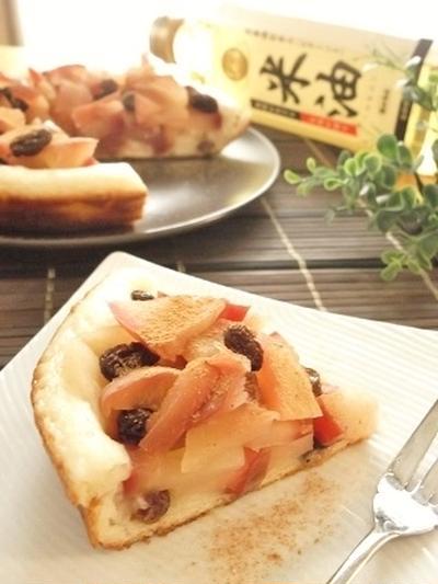 フライパンでじっくり蒸し焼きするだけ!米油&米粉♪アップルパイ風蒸し揚げパンケーキ