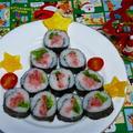 巻き寿司でクリスマスツリー