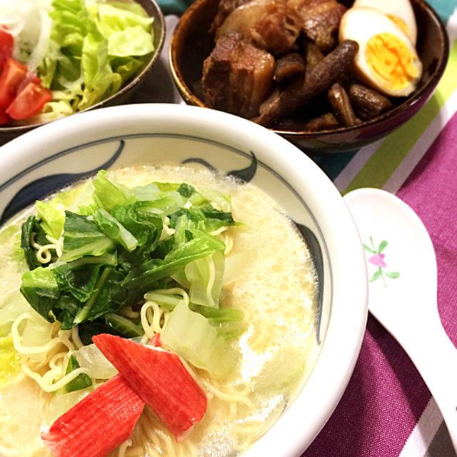 マルちゃん正麺でしっかり夕飯献立☆圧力鍋で作る!豚バラ肉の角煮♪