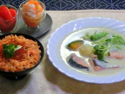 >美味しい秋鮭で2品!! ご飯とスープ!! by きりまりママさん