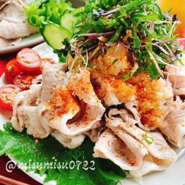 薬味たっぷり梅おろし冷しゃぶ(動画レシピ)/Cooled parboiled Pork.