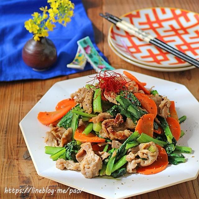 豚小間と小松菜のパパっとこくうま味噌炒め!春休みの簡単ランチにも