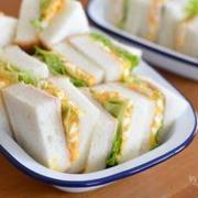 ノンマヨタマゴハムサンドの昼ごはん。
