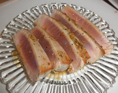 久しぶりの銀しゃり ~ Ahi Tuna (アヒツナ)のたたき風ポン酢ソテー