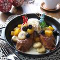 紅茶風味のパンペルデュ アイスとフルーツを添えて & レモンと柚子の収穫~♪