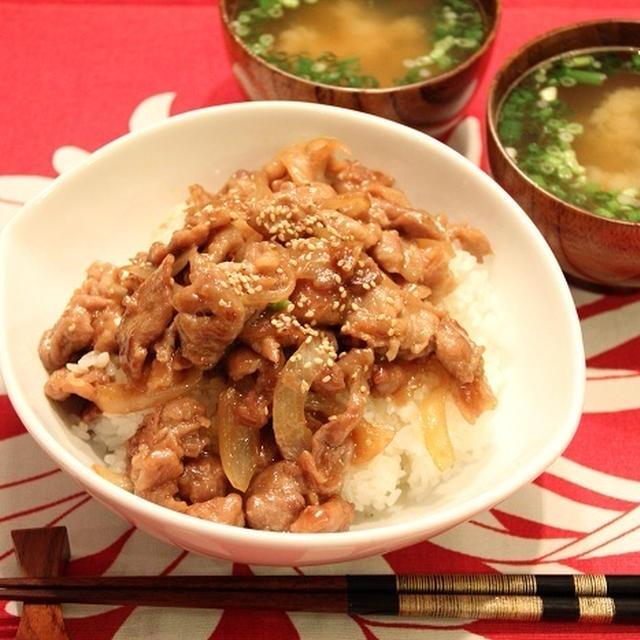 豚丼と即席お味噌汁。