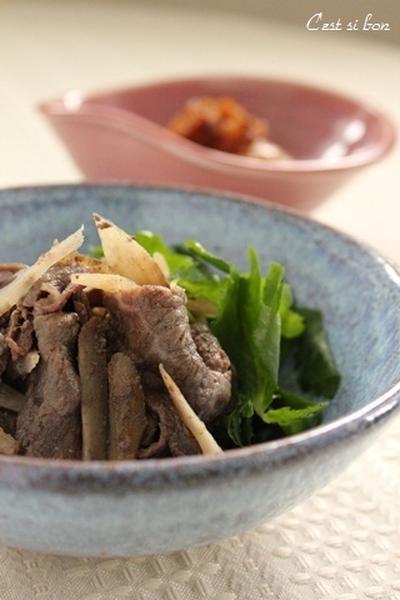 牛肉とごぼうの煮物♪ピリ辛花椒風味