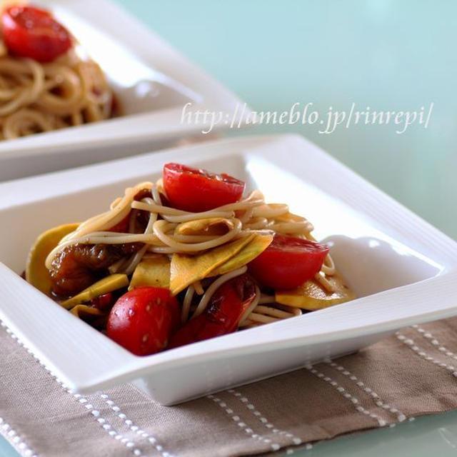 コリンキーとパプリカのマリネ冷製スパゲッティ