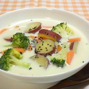 さつまいもとブロッコリーの生姜豆乳みそスープ☆