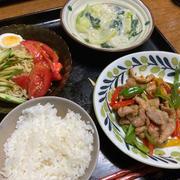 青椒肉絲、青梗菜と春雨のクリーム煮、ミニ冷やし中華