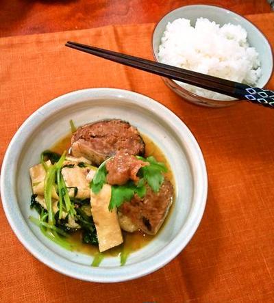 鯖と京揚げと三つ葉の炊いたん❀梅肉のせ ~ さば味付缶で