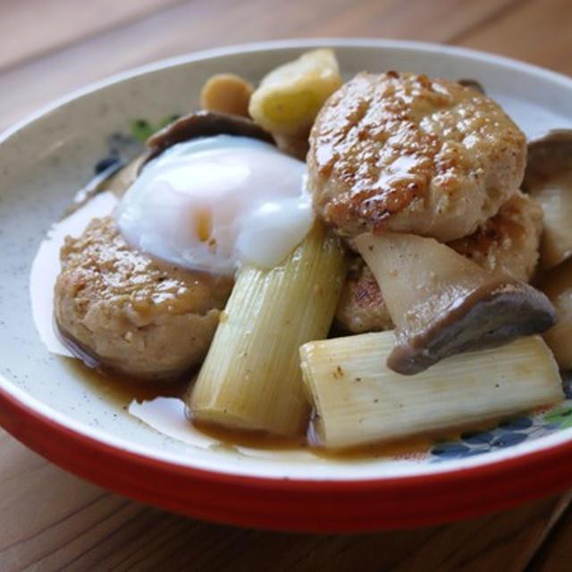 つくねとエリンギ、ねぎのすき煮