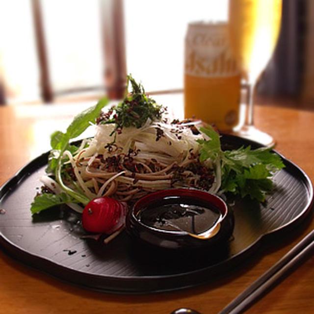 「お野菜」「蕎麦の香味野菜サラダ」