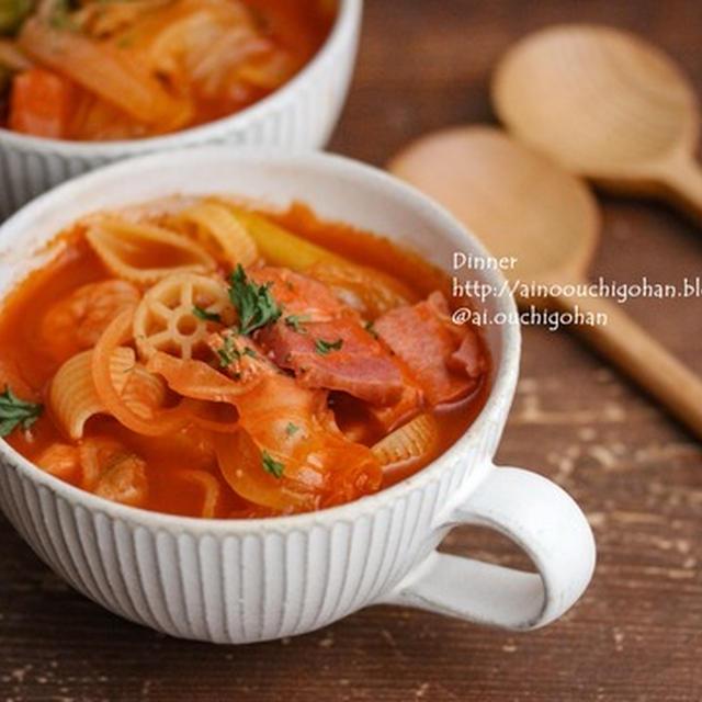 トマトジュースで作る♪マカロニ入りの具だくさんスープ♪とリメイクリゾット♡