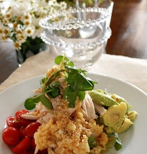 超ヘルシーノンオイル♪茹で鶏とトマトとアボカドのサラダ