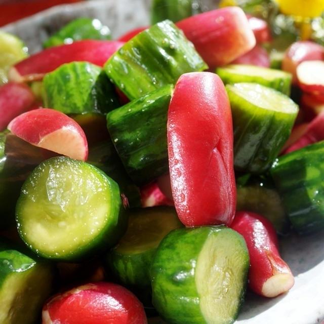 【紅白ラディッシュと胡瓜の漬物】追いがつおつゆで 簡単!!絶品です♪
