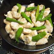 鶏胸肉とシシトウの花椒炒め