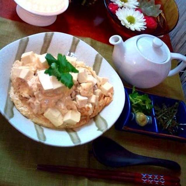 鶏そぼろごはんの和風オムライス ~ お出汁をかけて二度楽しい♪