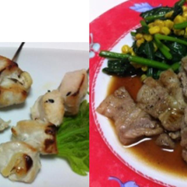 トンテキ、塩麹焼き鳥、マカロニサラダ、キュウリの浅漬け 他