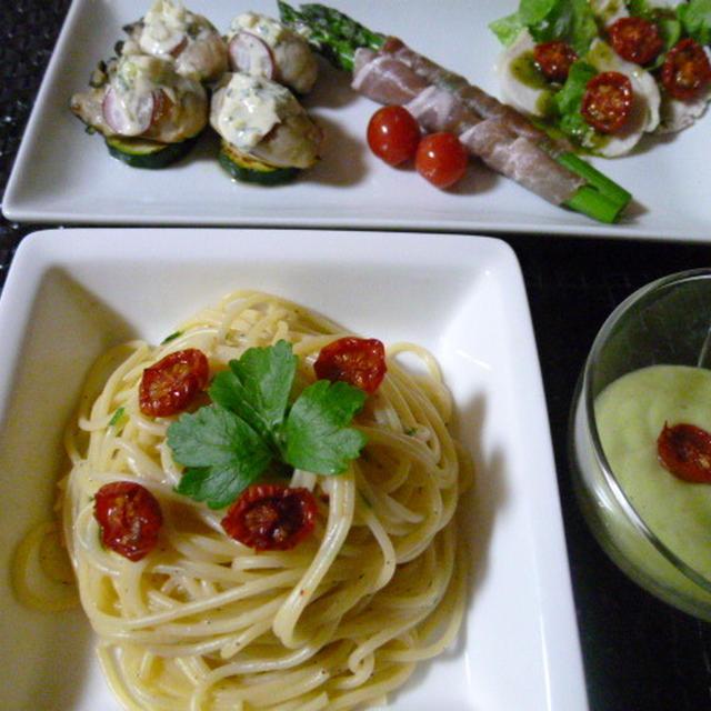 おつまみ3点盛りとアーリオ・オーリオのスパゲティーの献立 夕ご飯