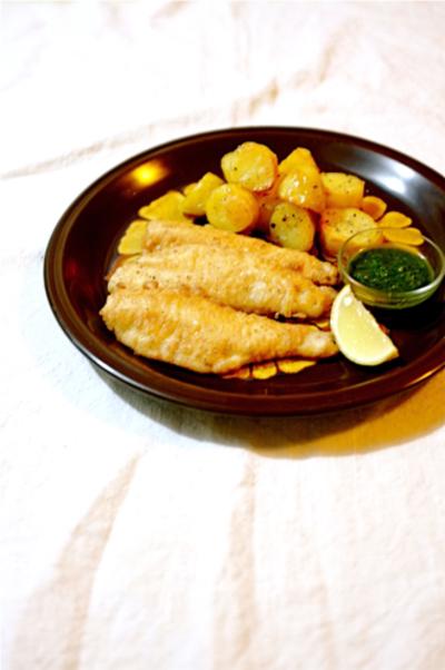 白身魚、キスのピカタ。