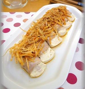 【おうちで楽しもう!韓国食材】肉巻き豆腐のレンジ蒸しサムジャンのネギ和え