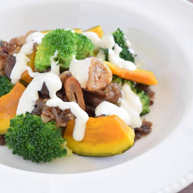 牛肉・かぼちゃ・ブロッコリーのオシャレ温サラダ